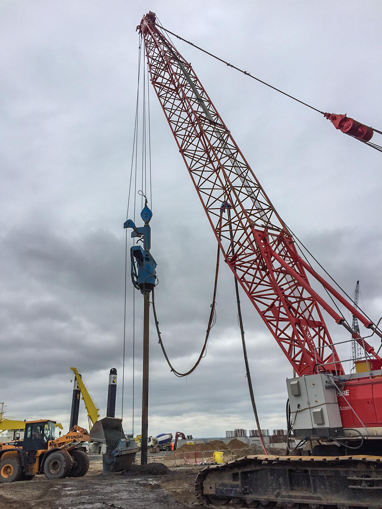 Crawler crane based BC1 Bottom Feed Stone Column rig working here to depth of 12.0 m