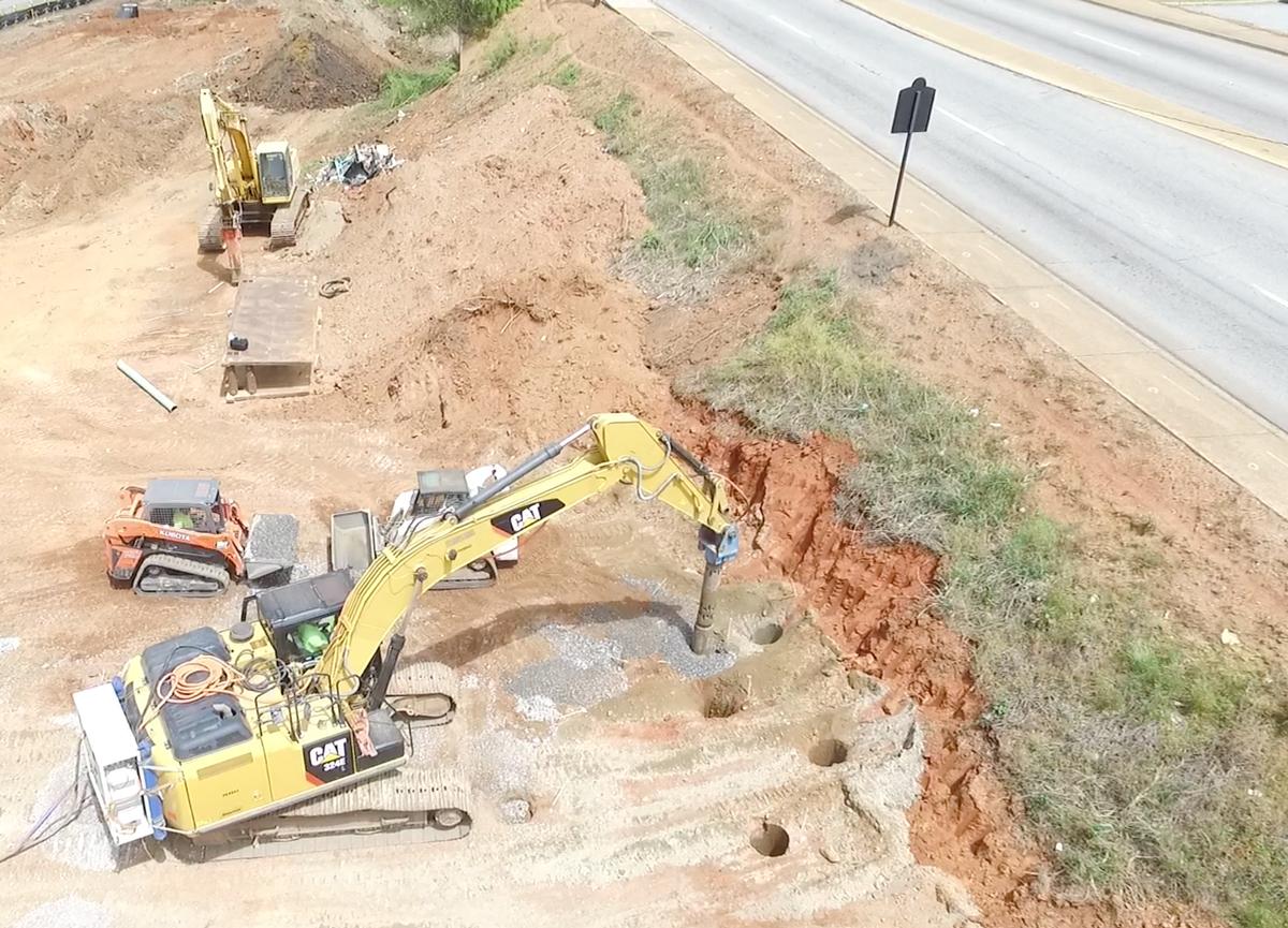 TE1 rig installing Dry Top Feed Stone Columns near road