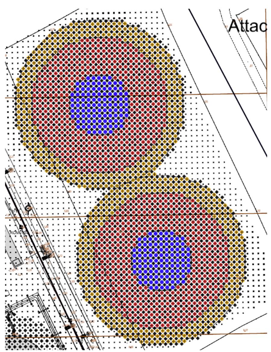 1.10 m diameter columns in 1.80 m grid