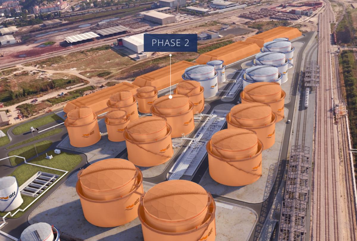 3D rendering of future tanks, orange = Phase 2